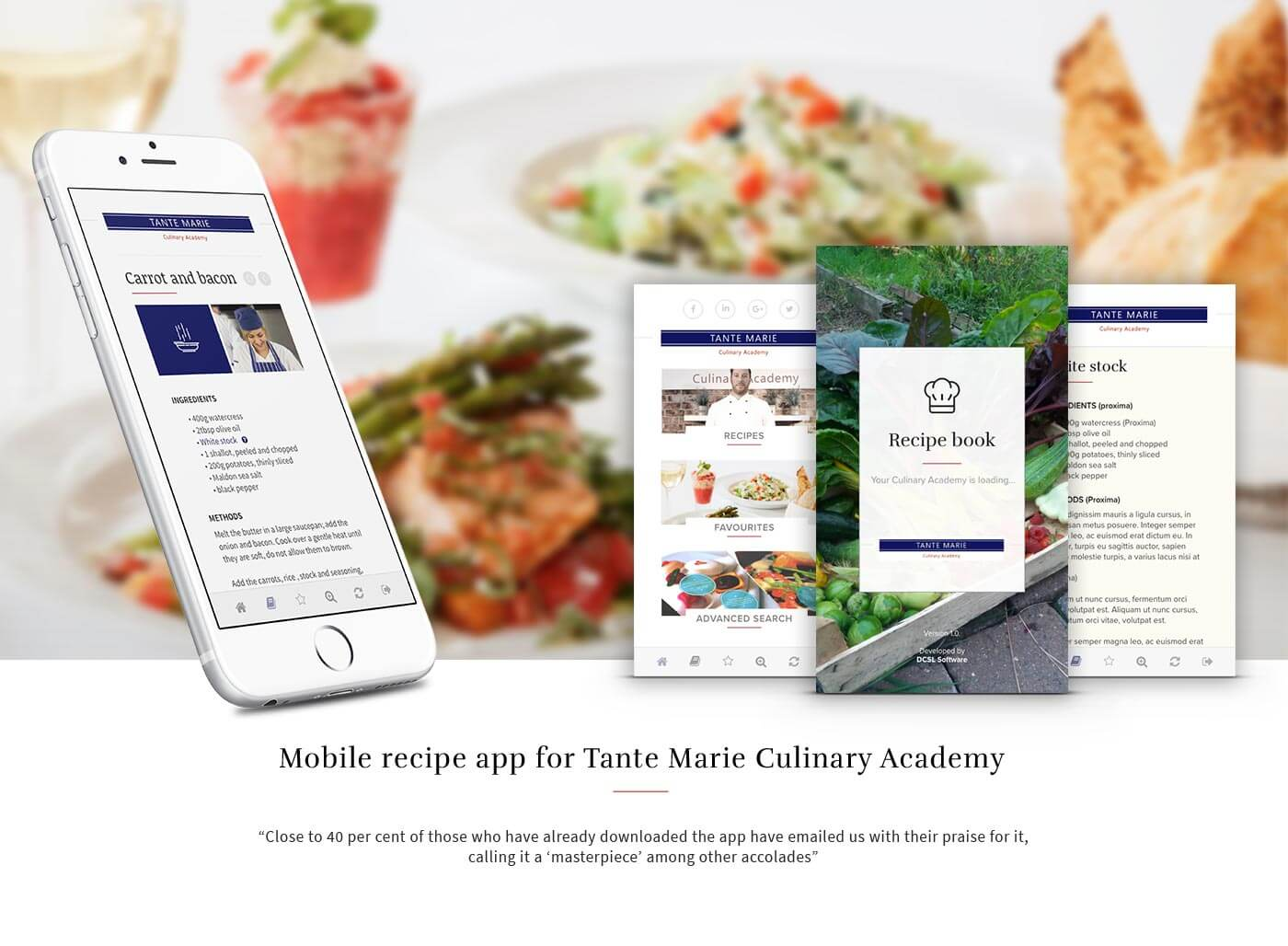 Mobile recipe app for Tante Marie Culinary Academy